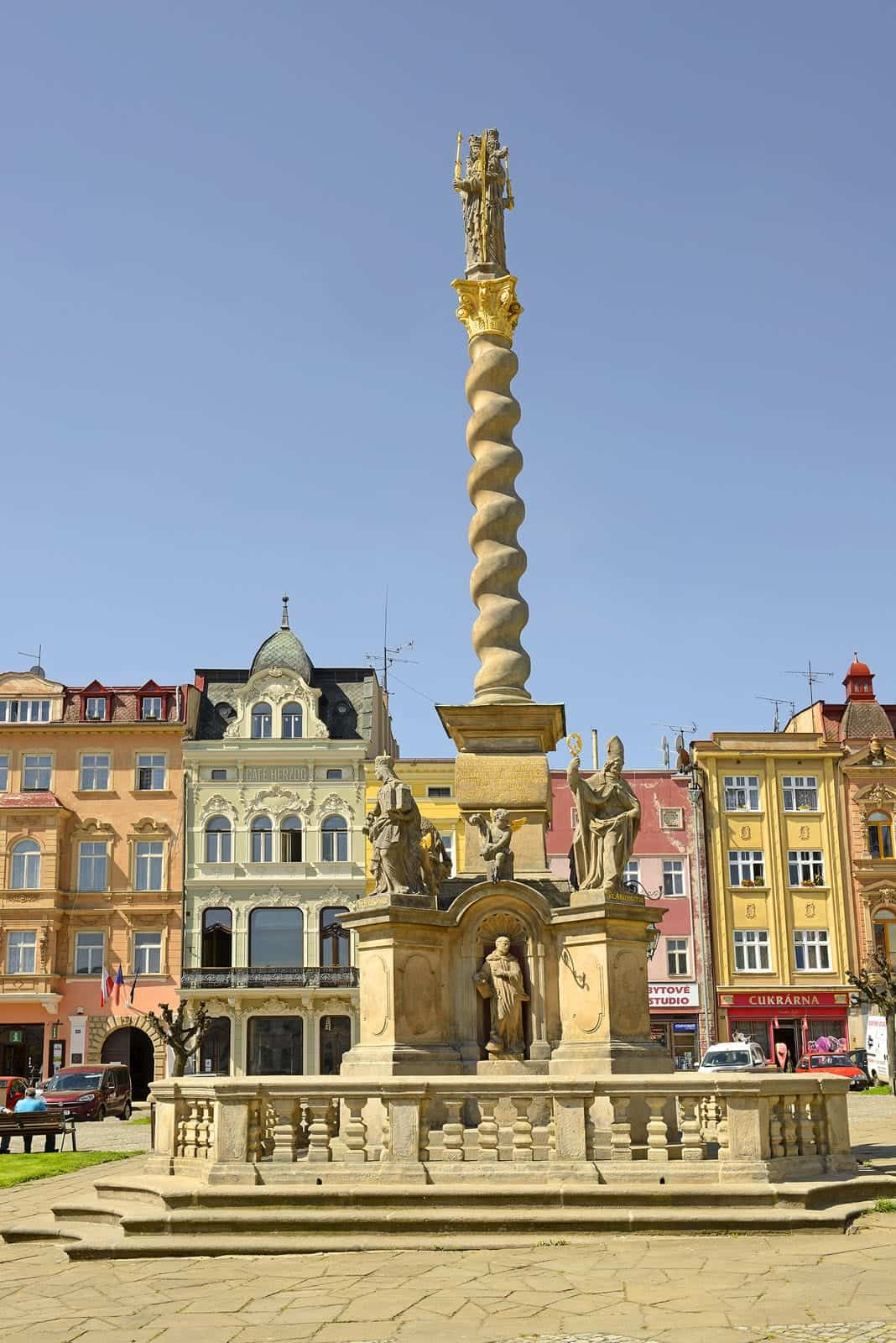 Column with the statue of the Virgin Mary in the square